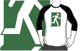 Lee Wilson Running Man Exit Sign Adult T-Shirt 14