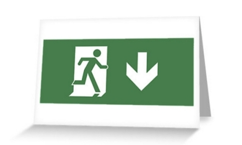 Lee Wilson Running Man Exit Sign Greeting Card 7