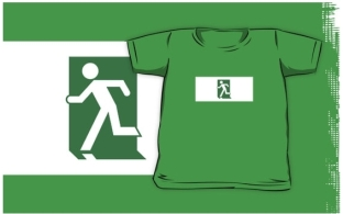 Lee Wilson Running Man Exit Sign Kids T-Shirt 95