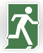 Lee Wilson Running Man Exit Sign Sticker Decals 50