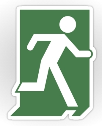 Lee Wilson Running Man Exit Sign Sticker Decals 50