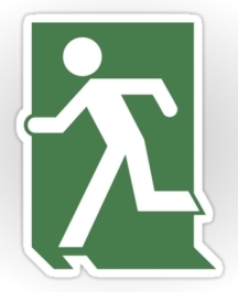 Lee Wilson Running Man Exit Sign Sticker Decals 61