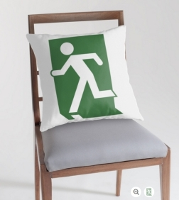Lee Wilson Running Man Exit Sign Throw Pillow Cushion 106