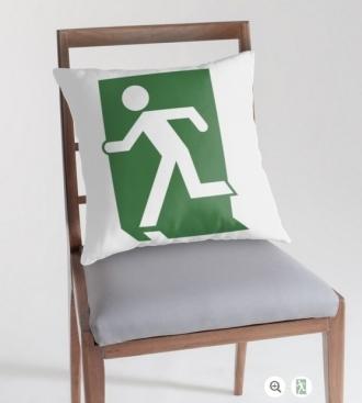 Lee Wilson Running Man Exit Sign Throw Pillow Cushion 106