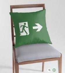 Lee Wilson Running Man Exit Sign Throw Pillow Cushion 124