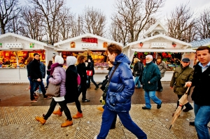 Market scene, with people walking