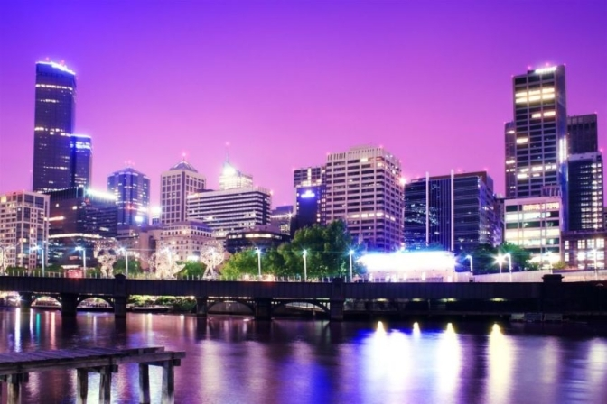 Melbourne night skyline, with pink sky Lee Wilson Home Page