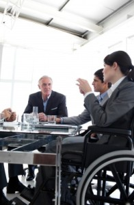 Project team meeting, with member using a wheelchair