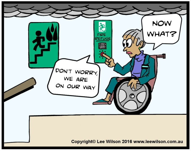 Cartoon of a lady using a Wheechair in Fire Refuge using Communications with Accessible Means of Egress Icon saying Now what?