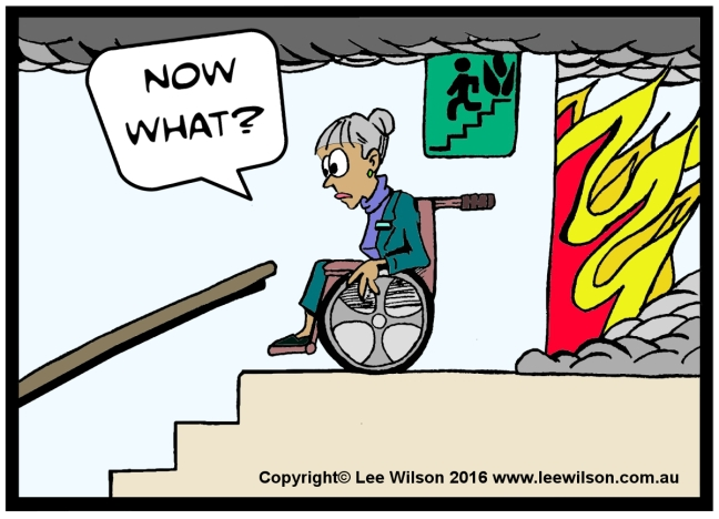 Cartoon of a lady using a Wheechair in Fire Stairs looking down the stairs saying Now What?