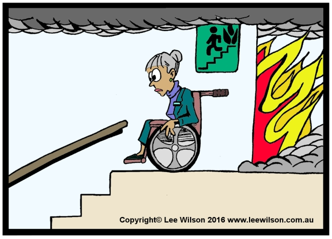 Cartoon of a lady using a Wheechair in Fire Stairs looking down the stairs