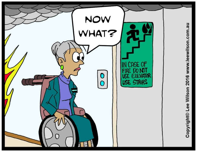 Cartoon of a lady using a wheelchair looking at Non Emergency Elevator saying Now what?
