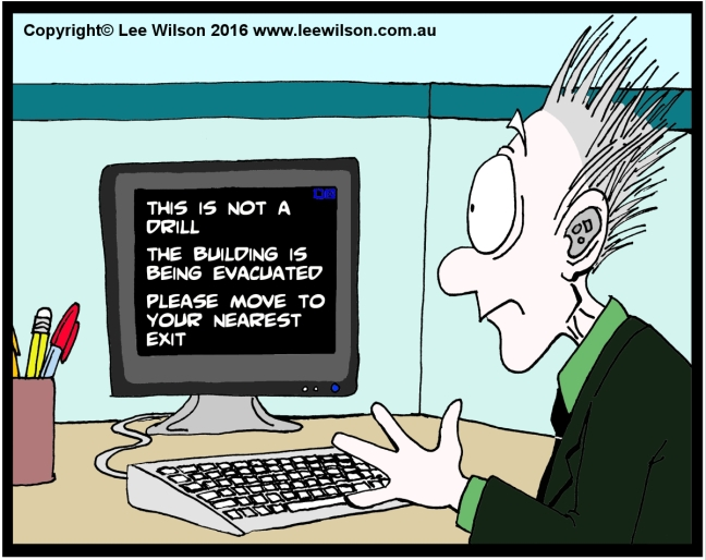 Cartoon of a man wearing a hearing aid looking at a computer screen telling him the building is being evacuated