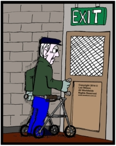 Accessible Exit Door needed for elderly man in walking frame trying to open exit door