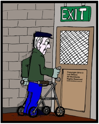 ccessible Exit Door needed for elderly man in walking frame trying to open exit door