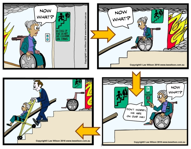 Now what cartoons showing how a person using a wheelchair finds themselves without a lift to use in emergency, but is helped out using an evacuation chair down the stairs