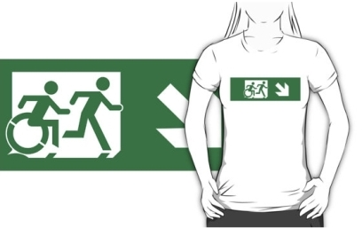 Accessible Means of Egress Icon Exit Sign Wheelchair Wheelie Running Man Symbol by Lee Wilson PWD Disability Emergency Evacuation Adult T-shirt 112