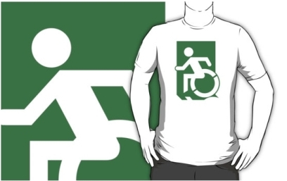 Accessible Means of Egress Icon Exit Sign Wheelchair Wheelie Running Man Symbol by Lee Wilson PWD Disability Emergency Evacuation Adult t-shirt 5