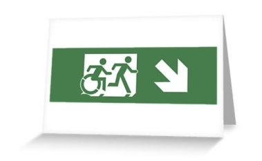 Accessible Means of Egress Icon Exit Sign Wheelchair Wheelie Running Man Symbol by Lee Wilson PWD Disability Emergency Evacuation Greeting Card 8
