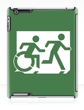 Accessible Means of Egress Icon Exit Sign Wheelchair Wheelie Running Man Symbol by Lee Wilson PWD Disability Emergency Evacuation iPad Case 10