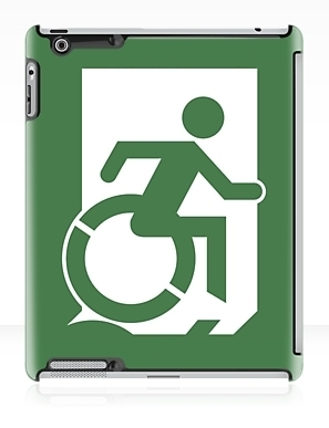 Accessible Means of Egress Icon Exit Sign Wheelchair Wheelie Running Man Symbol by Lee Wilson PWD Disability Emergency Evacuation iPad Case 115