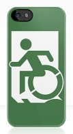 Accessible Means of Egress Icon Exit Sign Wheelchair Wheelie Running Man Symbol by Lee Wilson PWD Disability Emergency Evacuation iPhone Case 16