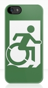Accessible Means of Egress Icon Exit Sign Wheelchair Wheelie Running Man Symbol by Lee Wilson PWD Disability Emergency Evacuation iPhone Case 24