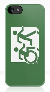 Accessible Means of Egress Icon Exit Sign Wheelchair Wheelie Running Man Symbol by Lee Wilson PWD Disability Emergency Evacuation iPhone Case 8