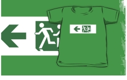 Accessible Means of Egress Icon Exit Sign Wheelchair Wheelie Running Man Symbol by Lee Wilson PWD Disability Emergency Evacuation Kids T-shirt 219