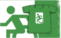 Accessible Means of Egress Icon Exit Sign Wheelchair Wheelie Running Man Symbol by Lee Wilson PWD Disability Emergency Evacuation Kids T-shirts 3