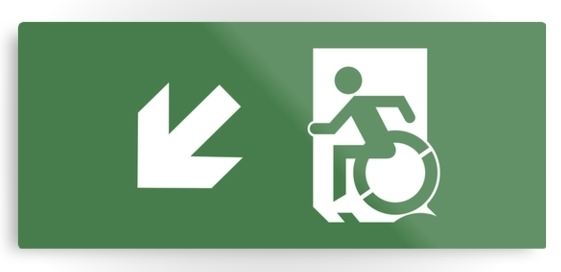 Accessible Means Of Egress Icon Exit Sign Wheelchair Wheelie Running