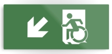 Accessible Means of Egress Icon Exit Sign Wheelchair Wheelie Running Man Symbol by Lee Wilson PWD Disability Emergency Evacuation Metal Printed 15