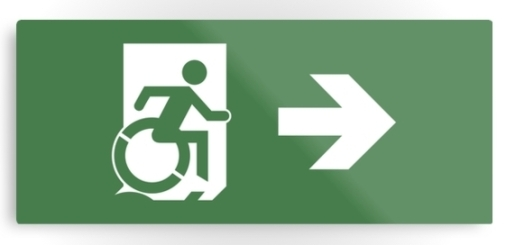 Accessible Means of Egress Icon Exit Sign Wheelchair Wheelie Running Man Symbol by Lee Wilson PWD Disability Emergency Evacuation Metal Printed 23