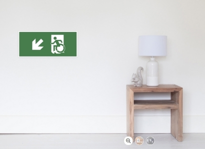 Accessible Means of Egress Icon Exit Sign Wheelchair Wheelie Running Man Symbol by Lee Wilson PWD Disability Emergency Evacuation Poster 2