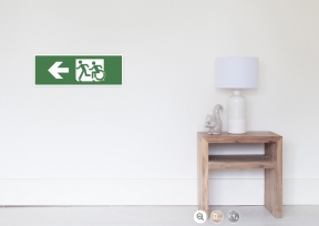 Accessible Means of Egress Icon Exit Sign Wheelchair Wheelie Running Man Symbol by Lee Wilson PWD Disability Emergency Evacuation Poster 47