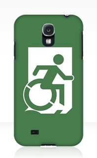Accessible Means of Egress Icon Exit Sign Wheelchair Wheelie Running Man Symbol by Lee Wilson PWD Disability Emergency Evacuation Samsung Galaxy Case 24