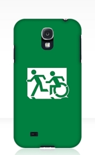 Accessible Means of Egress Icon Exit Sign Wheelchair Wheelie Running Man Symbol by Lee Wilson PWD Disability Emergency Evacuation Samsung Galaxy Case 91