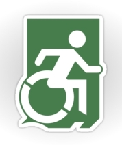 Accessible Means of Egress Icon Exit Sign Wheelchair Wheelie Running Man Symbol by Lee Wilson PWD Disability Emergency Evacuation Sticker 3