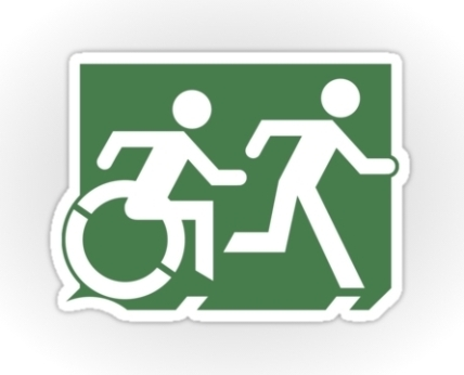 Accessible Means of Egress Icon Exit Sign Wheelchair Wheelie Running Man Symbol by Lee Wilson PWD Disability Emergency Evacuation Sticker 37