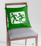 Accessible Means of Egress Icon Exit Sign Wheelchair Wheelie Running Man Symbol by Lee Wilson PWD Disability Emergency Evacuation Throw Pillow Cushion 101