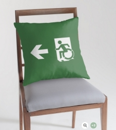 Accessible Means of Egress Icon Exit Sign Wheelchair Wheelie Running Man Symbol by Lee Wilson PWD Disability Emergency Evacuation Throw Pillow Cushion 19