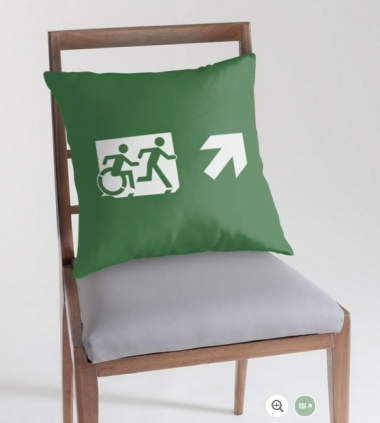 Accessible Means of Egress Icon Exit Sign Wheelchair Wheelie Running Man Symbol by Lee Wilson PWD Disability Emergency Evacuation Throw Pillow Cushion 95