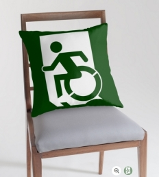 Accessible Means of Egress Icon Exit Sign Wheelchair Wheelie Running Man Symbol by Lee Wilson PWD Disability Emergency Evacuation Throw Pillow Cushion 97
