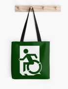 Accessible Means of Egress Icon Exit Sign Wheelchair Wheelie Running Man Symbol by Lee Wilson PWD Disability Emergency Evacuation Tote Bag 56