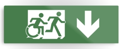 Accessible Means of Egress Icon Exit Sign Wheelchair Wheelie Running Man Symbol by Lee Wilson PWD Disability Evacuation Metal Printed 31
