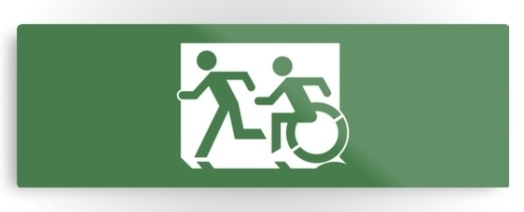 Accessible Means of Egress Icon Exit Sign Wheelchair Wheelie Running Man Symbol by Lee Wilson PWD Disability Evacuation Metal Printed 39