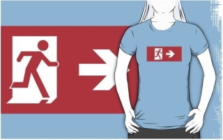 Running Man Exit Sign Adult T-Shirt 1