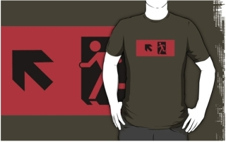 Running Man Exit Sign Adult T-Shirt 10