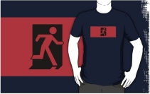 Running Man Exit Sign Adult T-Shirt 101
