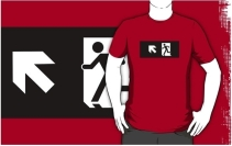 Running Man Exit Sign Adult T-Shirt 102